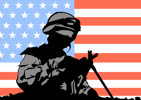 invader: Soldier in uniform with gun and american flag