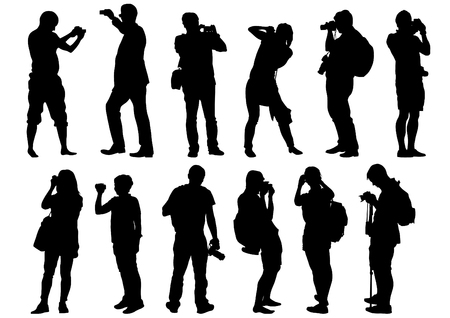 paparazzi: Man and women with a camera on white background