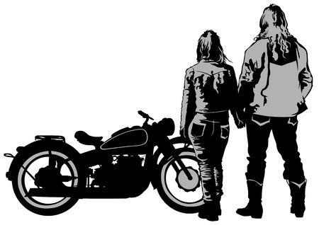 motorrad frau: Paare Menschen und Retro-Fahrrad auf weißem Hintergrund Illustration