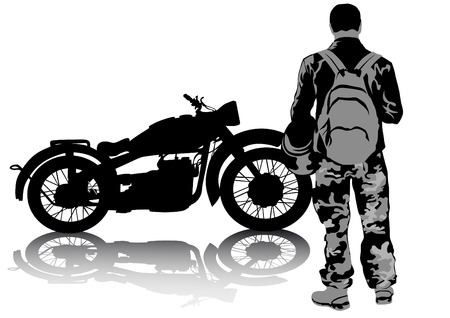 Biker and retro motorcycle on white background Vector