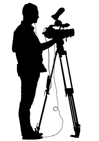Journalist and tripod of video camera on white background Vector