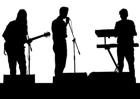 cymbal: Concert of rock band on a white background