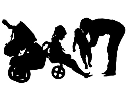 Families with child and carriage on white background Vector