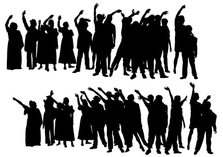 Big crowds people of wedding on white background Vector