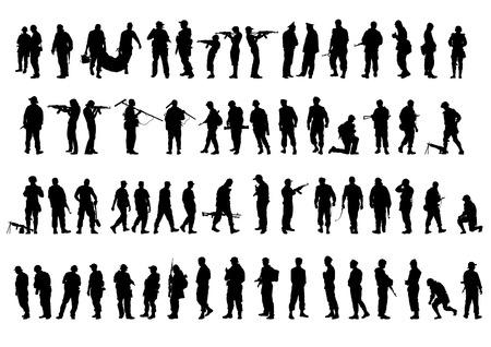 silhouette soldat: Un soldat en uniforme avec arme à feu sur fond blanc