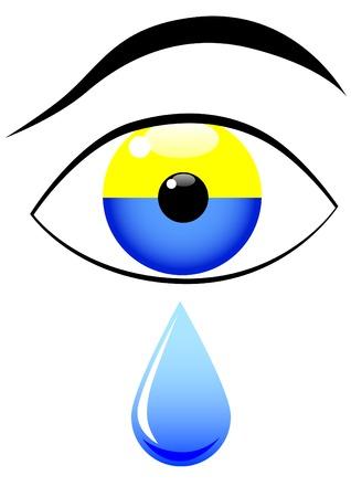 ukrainian flag: Ukrainian flag in shape of an eye and tear