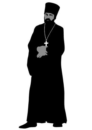 catholic cross: Silhouette of an Orthodox priest on white background