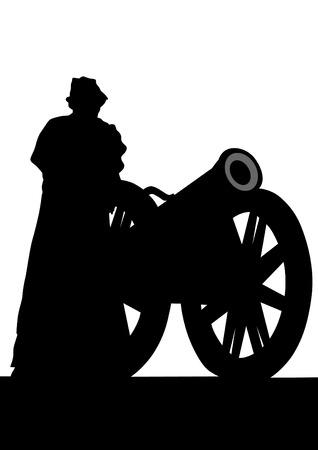 ядра: Силуэт старинных пушек и солдат на белом фоне