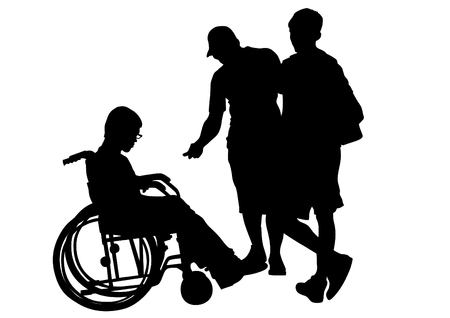 wheelchair users: Silhouettes of people and wheelchair users Illustration