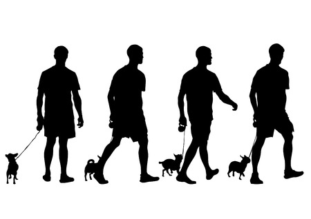 dog training: Silhouettes of man with a dog on a leash on a white background