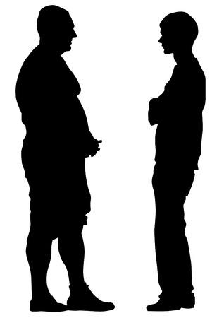 Silhouettes of men talking on a white background