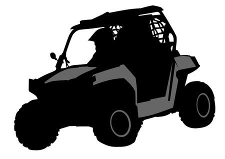 De silhouetten van atleten ATV tijdens de races Stock Illustratie