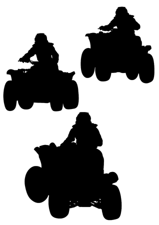 Silhouettes athletes ATV during races Vector