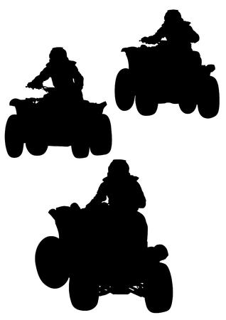 atv: Silhouettes athletes ATV during races