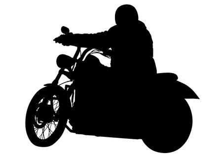 Motorcyclist in sportswear on white background Illustration