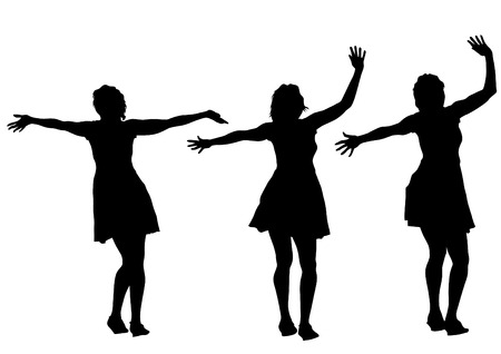 woman clothing: Young girls in dress on white background
