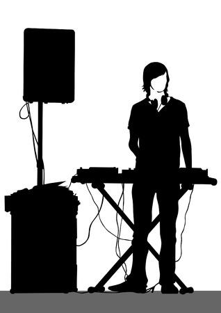Pianist der Rock-Band auf einem weißen Hintergrund Standard-Bild - 32255405