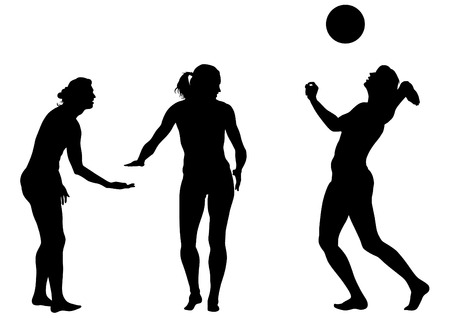 hitter: Young athletes playing volleyball on beach