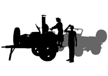 galley: Silhouette of military field kitchen white background