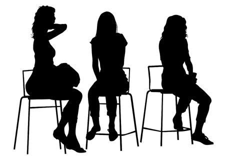 白の背景にシルエット若い女の子  イラスト・ベクター素材