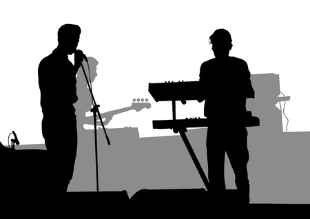 Group and singer of rock band on white background Vector