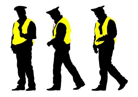 Ufficiale di traffico in uniforme su sfondo bianco Archivio Fotografico - 32501806