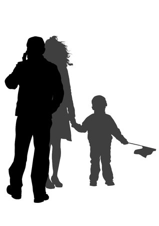 Families people with little child on white background Vector
