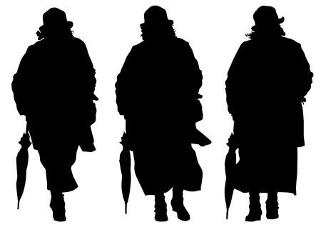 elderly people: Elderly people with cane one white background