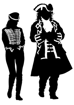 czar: Man and women in an old suit on white background