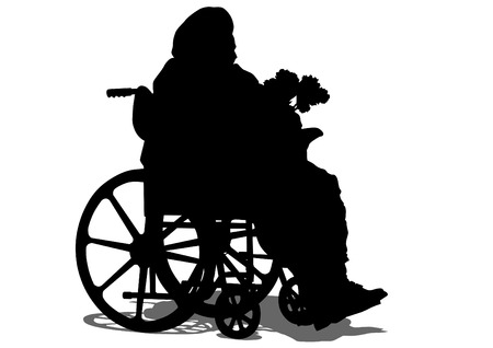 Silhouettes wheelchair and women on white background Vector