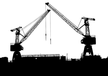 Silhouettes of cargo cranes in the seaport Vector