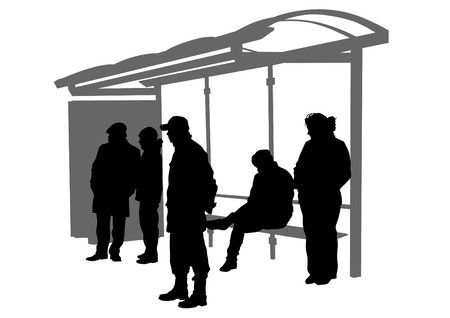 family moving house: People at bus stop on white background