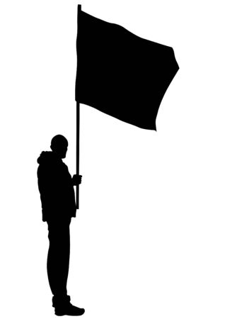 People of with large flag on white background Illustration