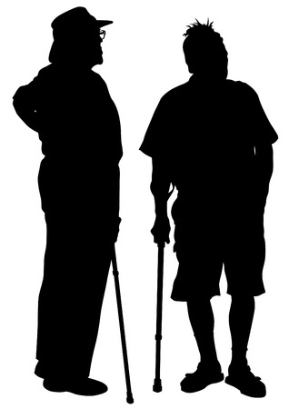Two elderly people with cane one white background Vector