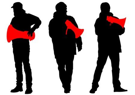 activism: Hombre con un meg�fono sobre fondo blanco Vectores