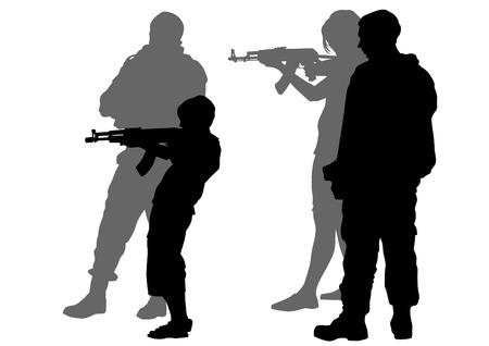 guerrilla warfare: Soldier in uniform with gun on white background