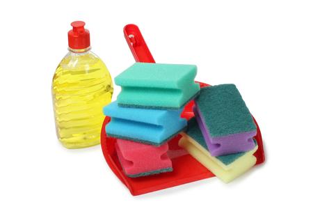 cleaning products: Productos de protección y limpieza en el fondo blanco Foto de archivo