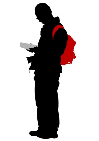 ilhouette: Silhouette of man with backpack on white background