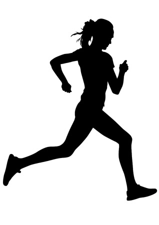 silhouette woman: Woman athletes on running race on white background