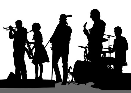 band: Group and singer of rock band on white background