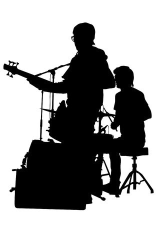 Guitar rock band silhouette on a white background