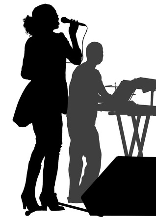 silhouette of woman: Beautiful woman with microphone silhouette on white background Illustration