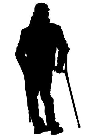 elderly people: Elderly people with cane on white background Illustration