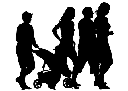 people sitting: Families with child and carriage on white background