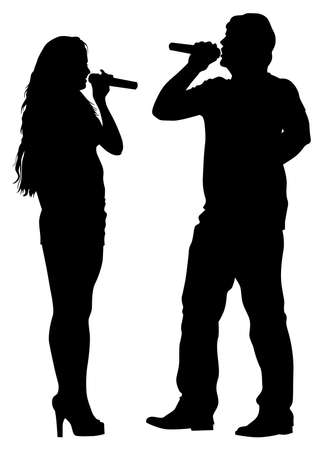 singer: Beautiful women and man whit microphon on white background