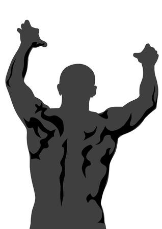 athleticism: Torso athletic men on a white background