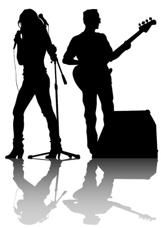 Group and singer of rock band on white background