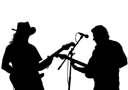 Gitaarrock band op een witte achtergrond Stock Illustratie