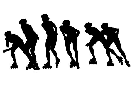 Silhouette athletes of skates on white background Illustration