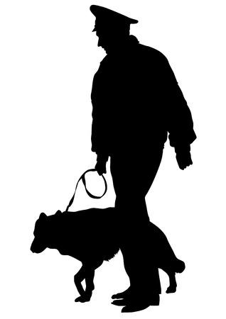 perro policia: Siluetas del hombre con un perro con una correa en un fondo blanco